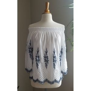 Vivid Importers | Off The Shoulder Embroidered Top